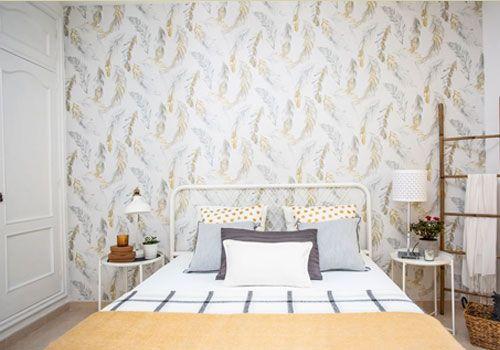Proyecto reforma de un dormitorio amarillo y gris